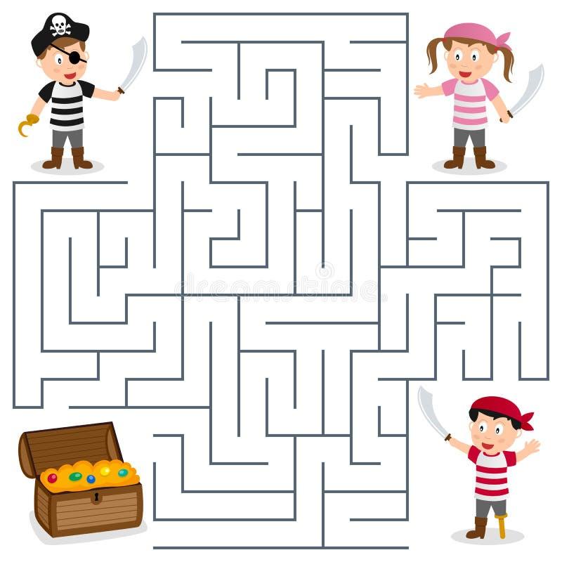 Piraci & skarbu labirynt dla dzieciaków ilustracji