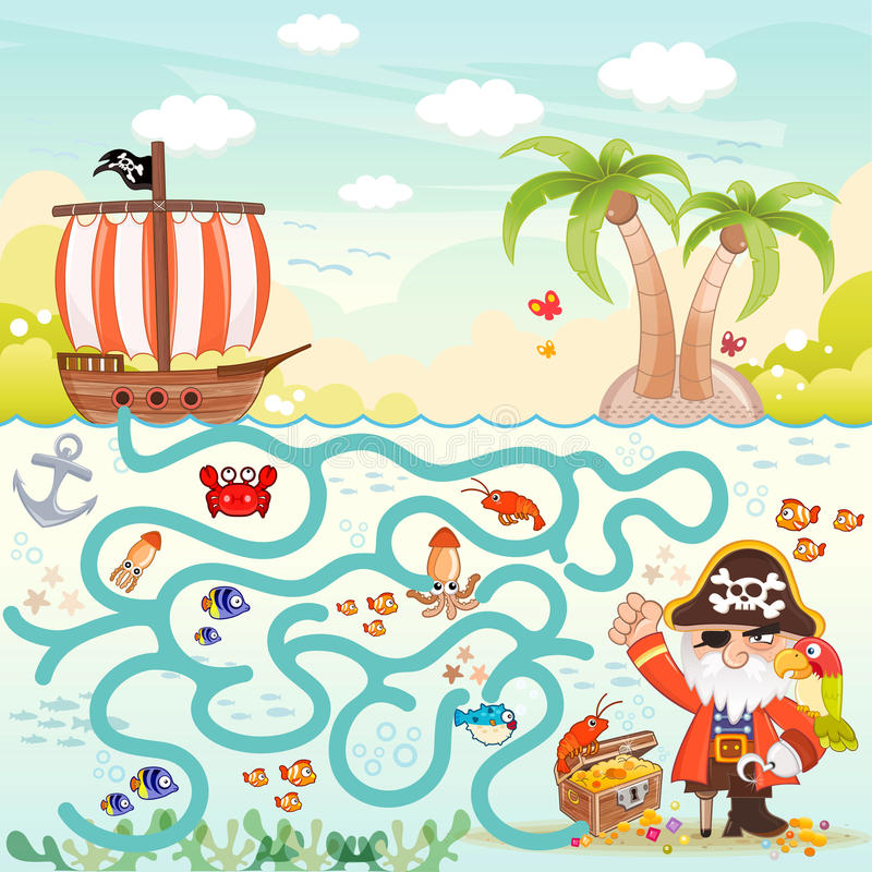 Piraci & skarbu labirynt dla dzieciaków ilustracja wektor