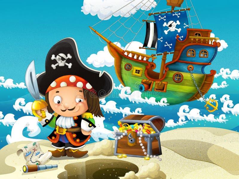 Piraci, skarbu polowanie ilustracja wektor