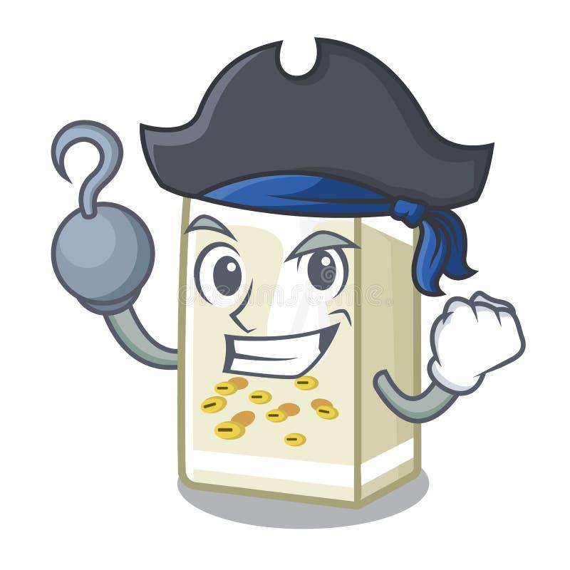 Pirackie mleko sojowe w pudełku z kreskówkami royalty ilustracja