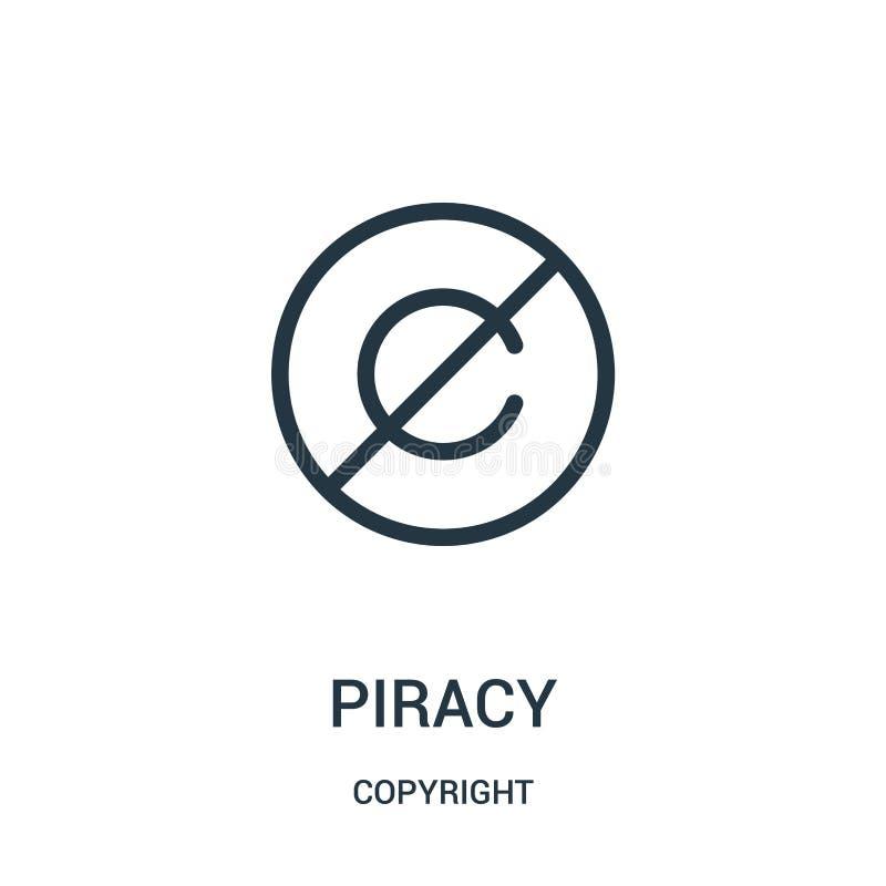 piractwo ikony wektor od prawo autorskie kolekcji Cienka kreskowa piractwo konturu ikony wektoru ilustracja royalty ilustracja