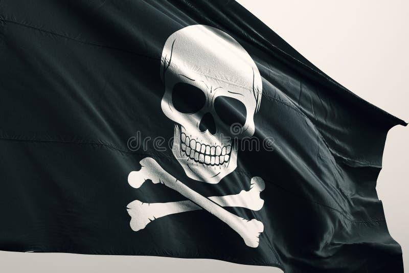 Pirate icon on flag royalty free stock photo