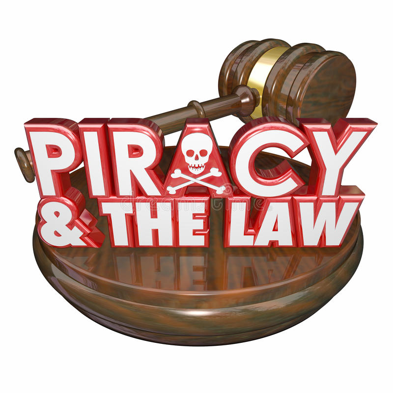 Piracy and the Law Words Judge Gavel Illegal Downloads. Piracy and the Law words on a judge's gavel for judgement against a criminal guilty of illegal downloads vector illustration