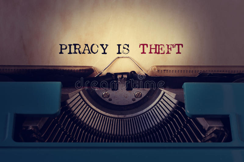 Piracy is theft stock photos