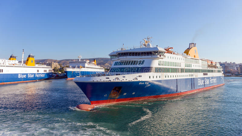 PIRAEUS, GREECE - JULY 4, 2017: Ferry boat `Blue Star Delos` departing Piraeus port on July 4, 2017. royalty free stock photos