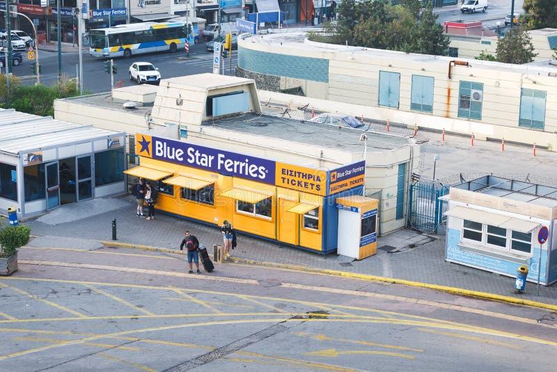 Tickets office Blue Star Ferries in biggest Greek seaport in Piraeus, Greece. PIRAEUS, GREECE - MAY 28, 2019: Tickets office Blue Star Ferries in biggest Greek royalty free stock image
