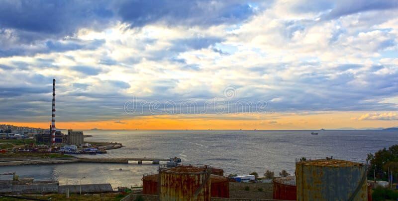 Piraeus industial strefa zdjęcia royalty free