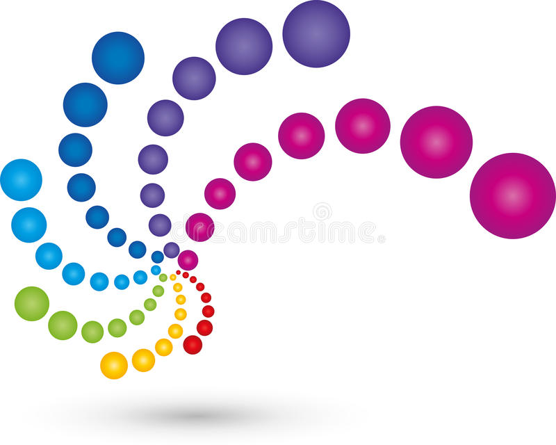 Piral av bollar i färg, målare And Printing Logo vektor illustrationer