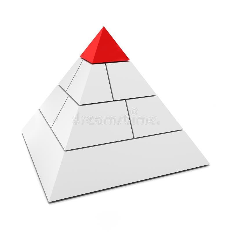 Piramide in bianco 3d con il pezzo superiore nel rosso illustrazione di stock