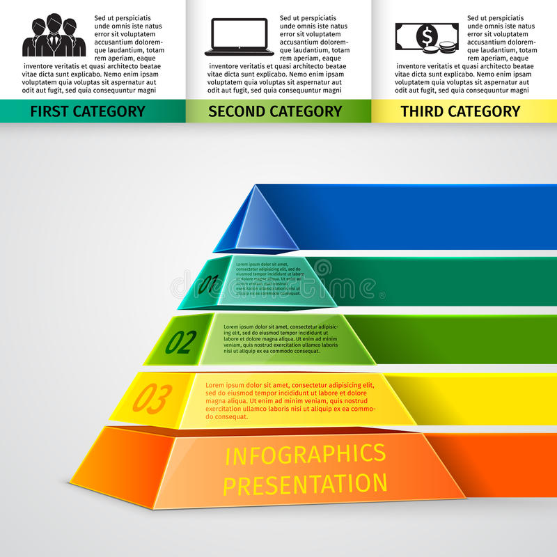 Piramide 3d infographics vector illustratie