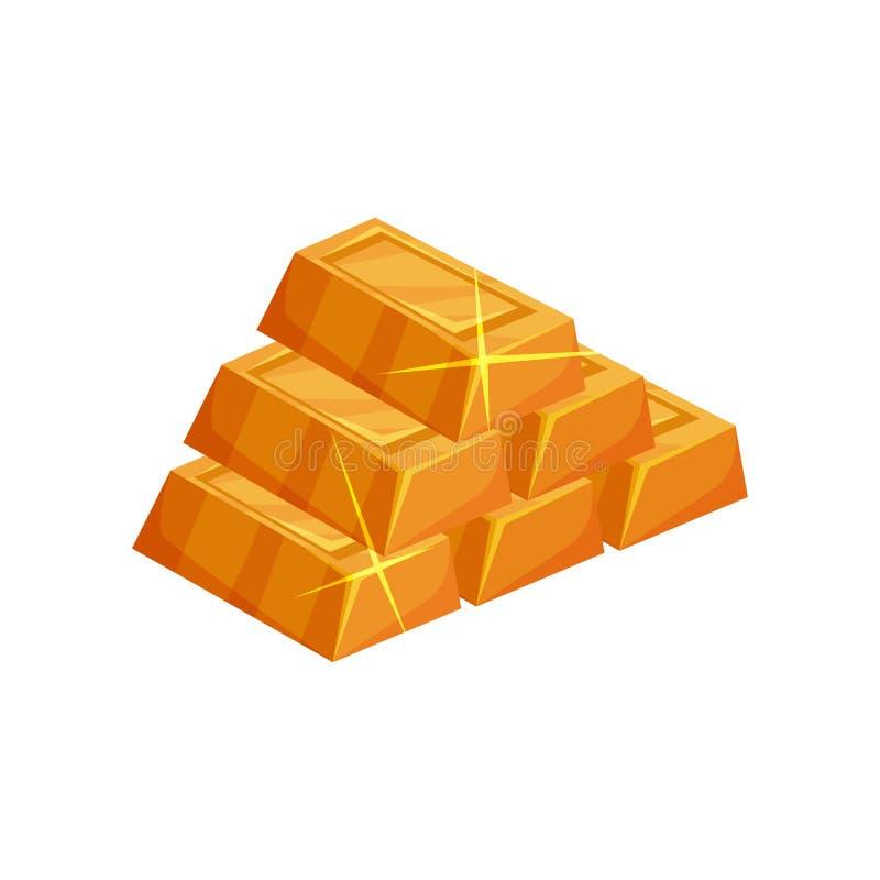 Piramide dai lingotti dorati brillanti Icona del fumetto delle barre di oro nella forma rettangolare Elemento piano variopinto di royalty illustrazione gratis