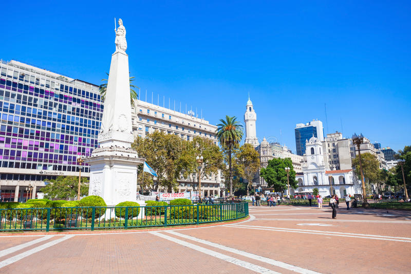 The Piramide de Mayo. BUENOS AIRES, ARGENTINA - APRIL 14, 2016: The Piramide de Mayo (May Pyramid) at the hub of the Plaza de Mayo, is the oldest national stock photography