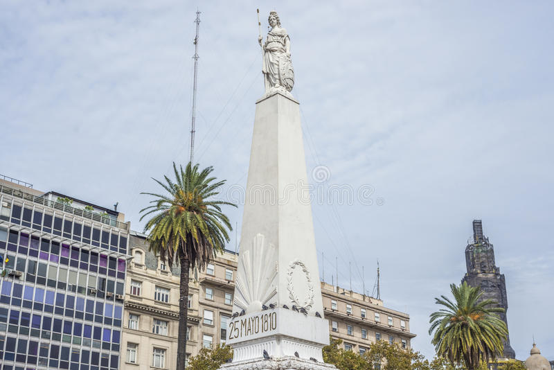 The Piramide de Mayo in Buenos Aires, Argentina. The Piramide de Mayo (May Pyramid), on Plaza de Mayo square is the oldest national monument in the City of royalty free stock photo