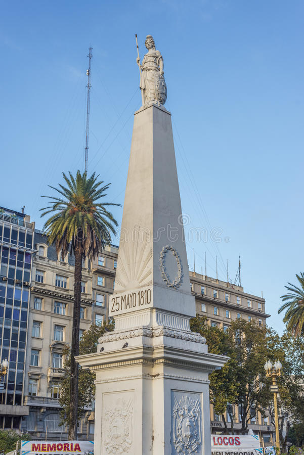 The Piramide de Mayo in Buenos Aires, Argentina. The Piramide de Mayo (May Pyramid), on Plaza de Mayo square is the oldest national monument in the City of royalty free stock images