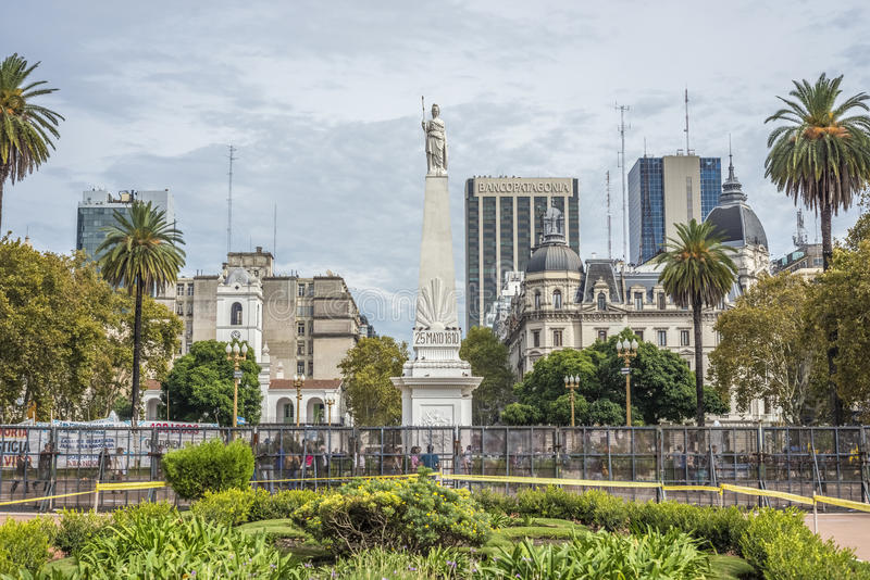 The Piramide de Mayo in Buenos Aires, Argentina. The Piramide de Mayo (May Pyramid), on Plaza de Mayo square is the oldest national monument in the City of stock photography
