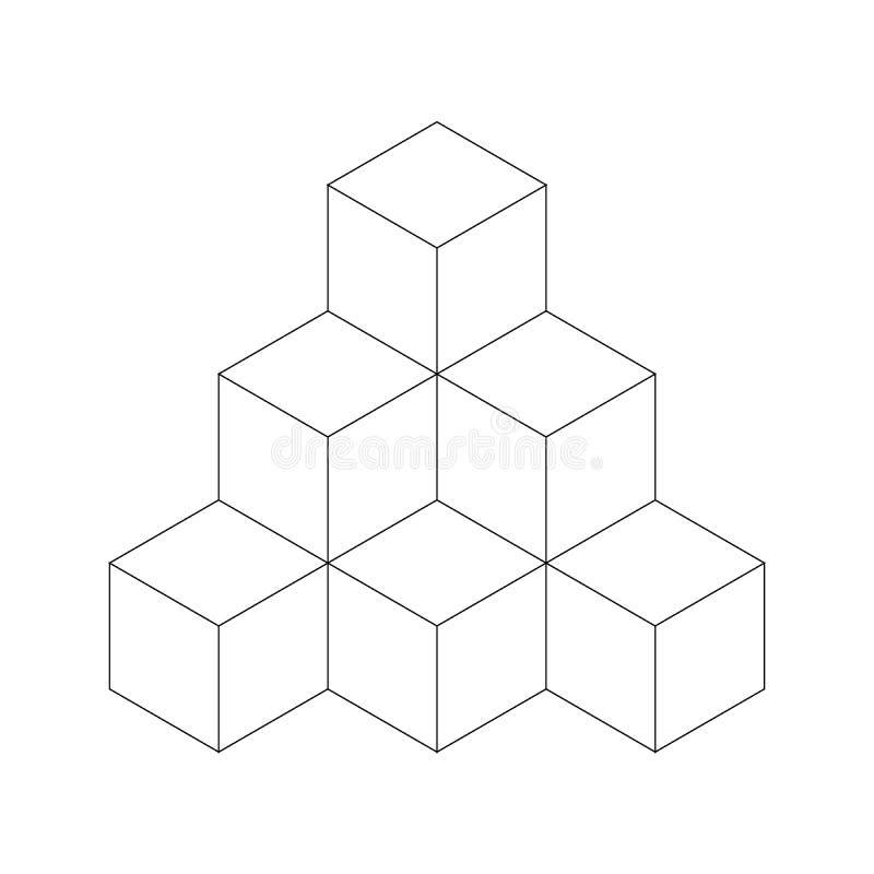 Piramide dei cubi Illustrazione piana del profilo di vettore isolata su fondo bianco royalty illustrazione gratis
