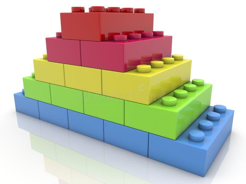 Piramide dei mattoni del giocattolo su bianco illustrazione di stock