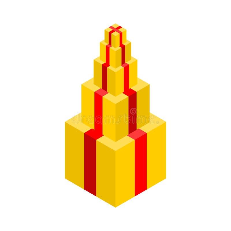 Piramide del regalo isolata Lotto del contenitore di regalo Illustrazione di vettore royalty illustrazione gratis