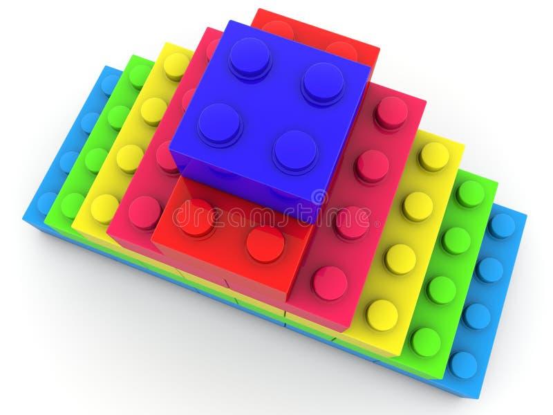 Piramide della vista superiore dei mattoni del giocattolo royalty illustrazione gratis