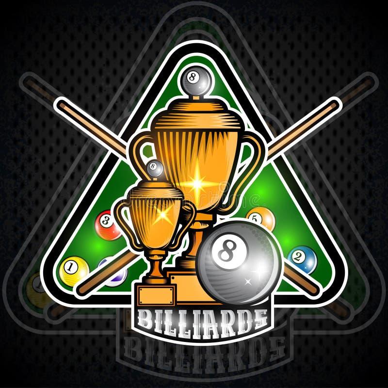 Piramide delle palle da biliardo con le stecche attraversate nel centro del biliardo di verde del triangolo Logo di sport per il  illustrazione di stock