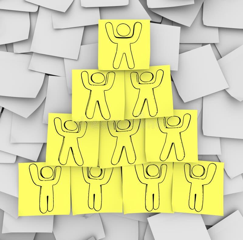 Piramide di cooperazione estratta sulle note appiccicose illustrazione vettoriale