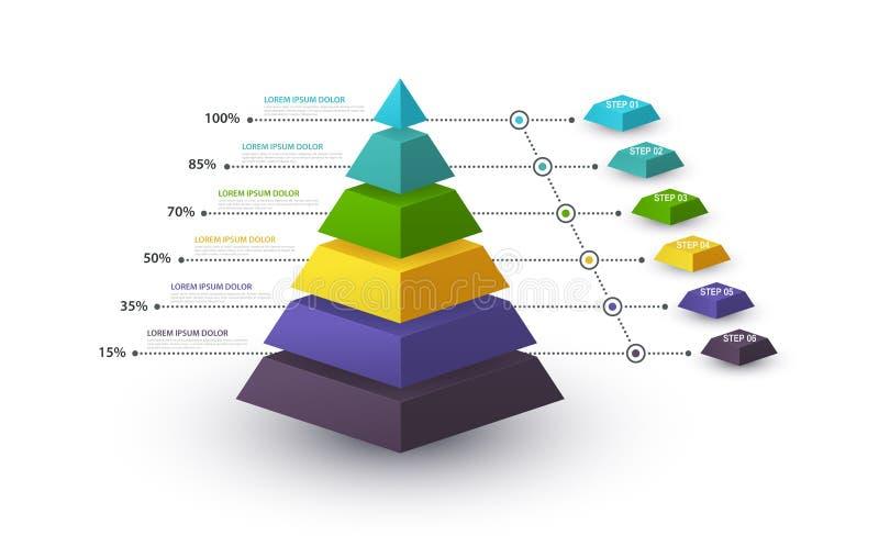 Piramide di Infographic con la struttura di punto e con le percentuali Il concetto di affari con 6 opzioni collega o fa un passo  illustrazione di stock