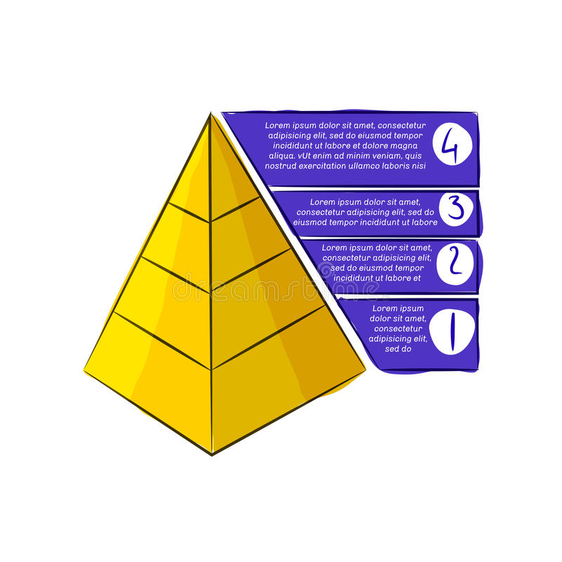 Piramide di scarabocchio con le bande illustrazione vettoriale