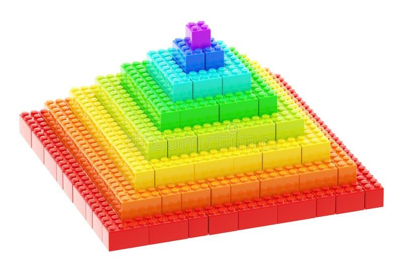 Piramide die van stuk speelgoed bouwbakstenen wordt gemaakt vector illustratie