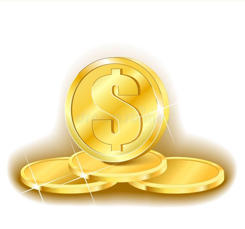 Piramide dorata dei soldi royalty illustrazione gratis