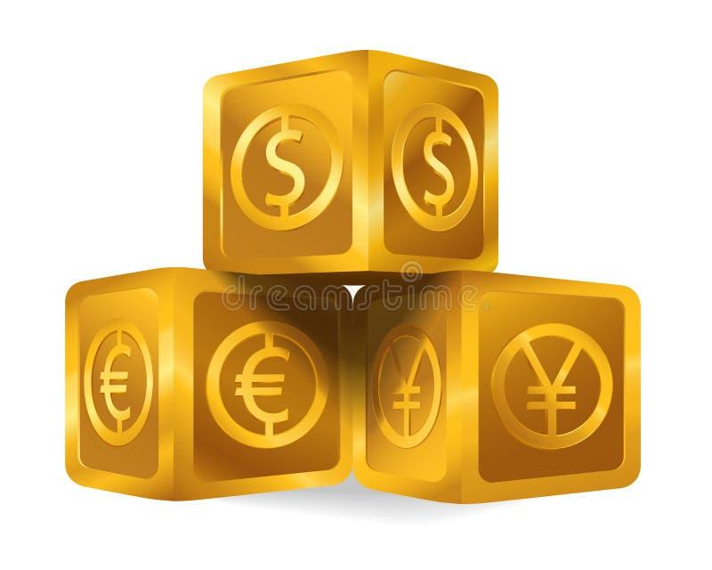 Piramide dorata isolata del cubo con il segno di dollaro americano di valute di maggiore del mondo, euro, icona di Yen giapponesi illustrazione vettoriale