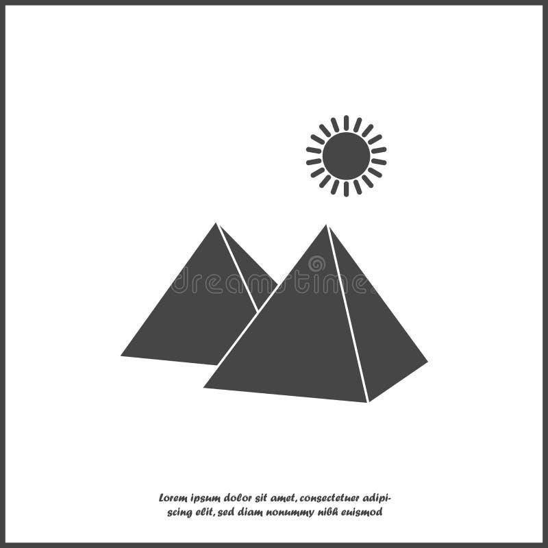 Piramide e sole dell'icona di vettore nel deserto su fondo isolato bianco royalty illustrazione gratis