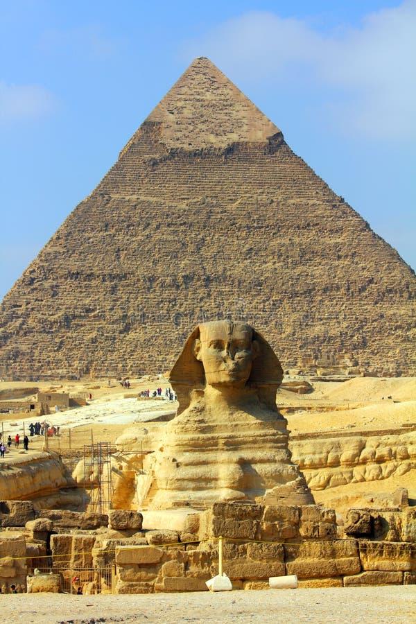 Piramide e sphinx dell'Egitto fotografia stock libera da diritti
