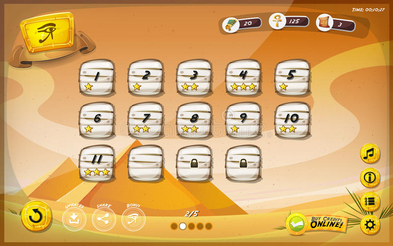 Piramide egiziana GUI Design For Tablet royalty illustrazione gratis