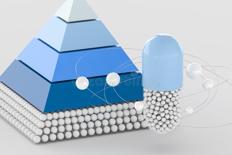 piramide en capsule, het 3d teruggeven vector illustratie