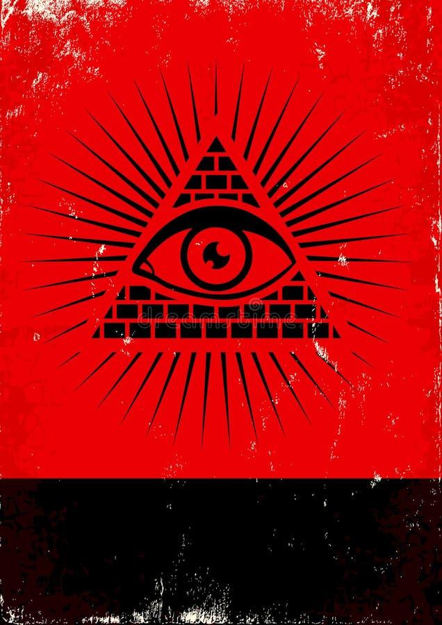 Piramide en het oog stock illustratie