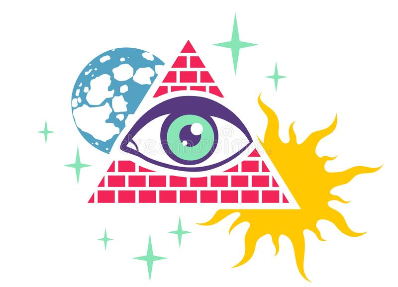 Piramide en oog stock illustratie