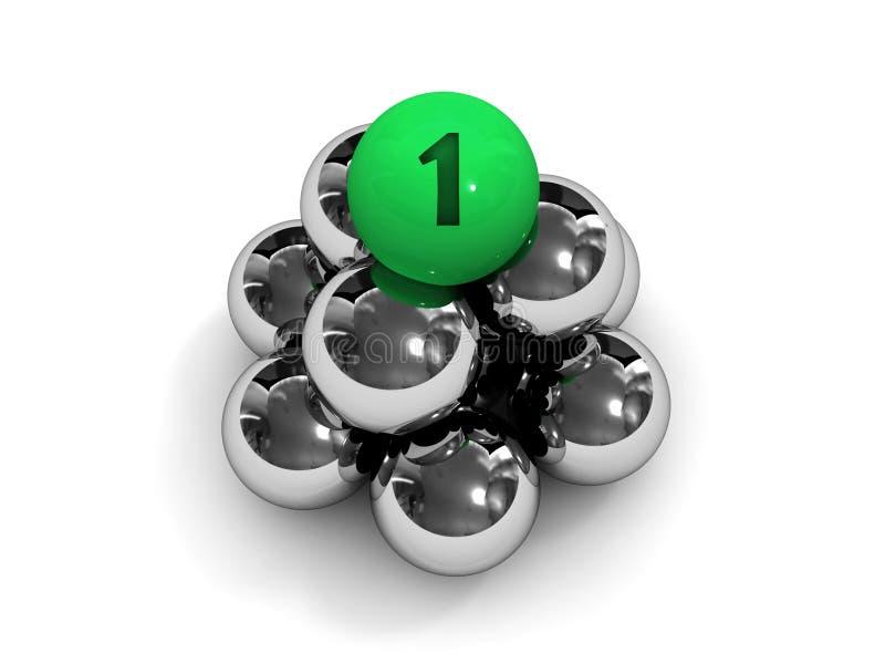 Piramide. Groene bal op de bovenkant. vector illustratie