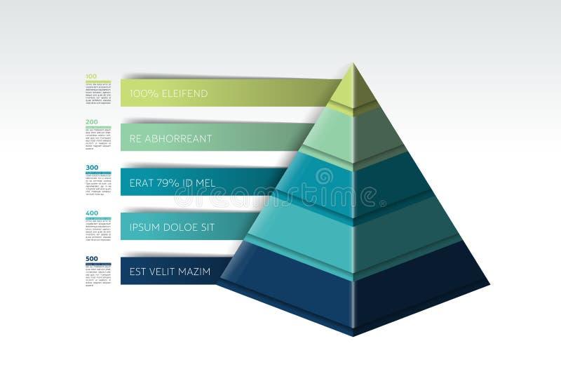 Piramide infographic, grafico del triangolo, schema, diagramma, modello illustrazione di stock