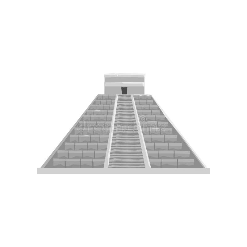 Piramide maya, simbolo di civilizzazione di maya, illustrazione tribale americana di vettore dell'elemento della cultura su un fo illustrazione vettoriale