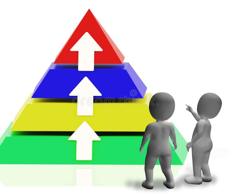 Piramide met Omhooggaande Pijlen en Copyspace die de Groei of Vooruitgang toont royalty-vrije illustratie