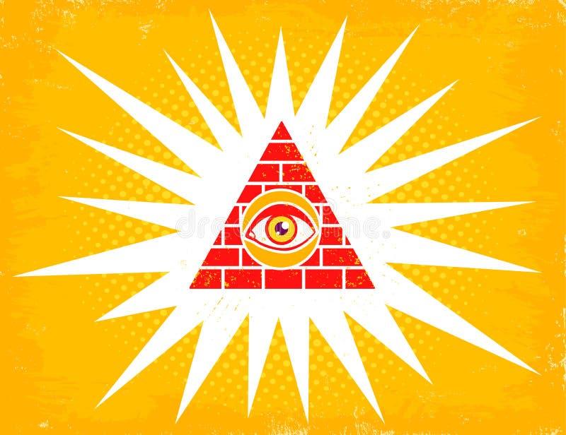 Piramide met oog stock illustratie