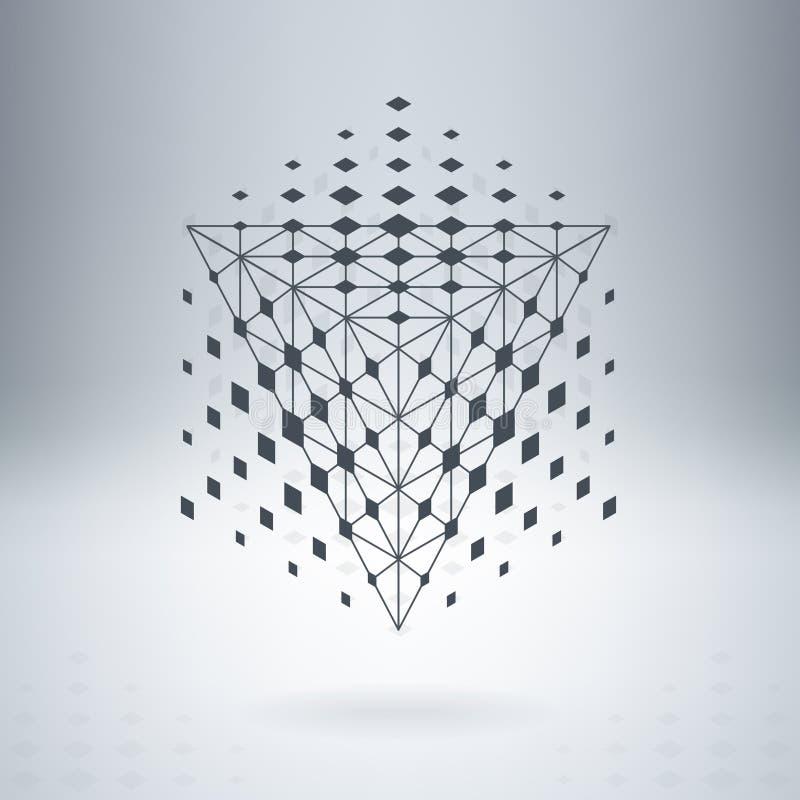 Piramide met verbonden lijnen en punten royalty-vrije illustratie