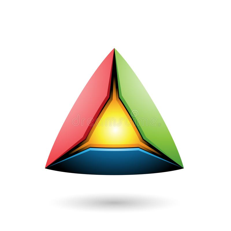Piramide rossa e verde blu con un'illustrazione d'ardore di vettore del centro illustrazione vettoriale