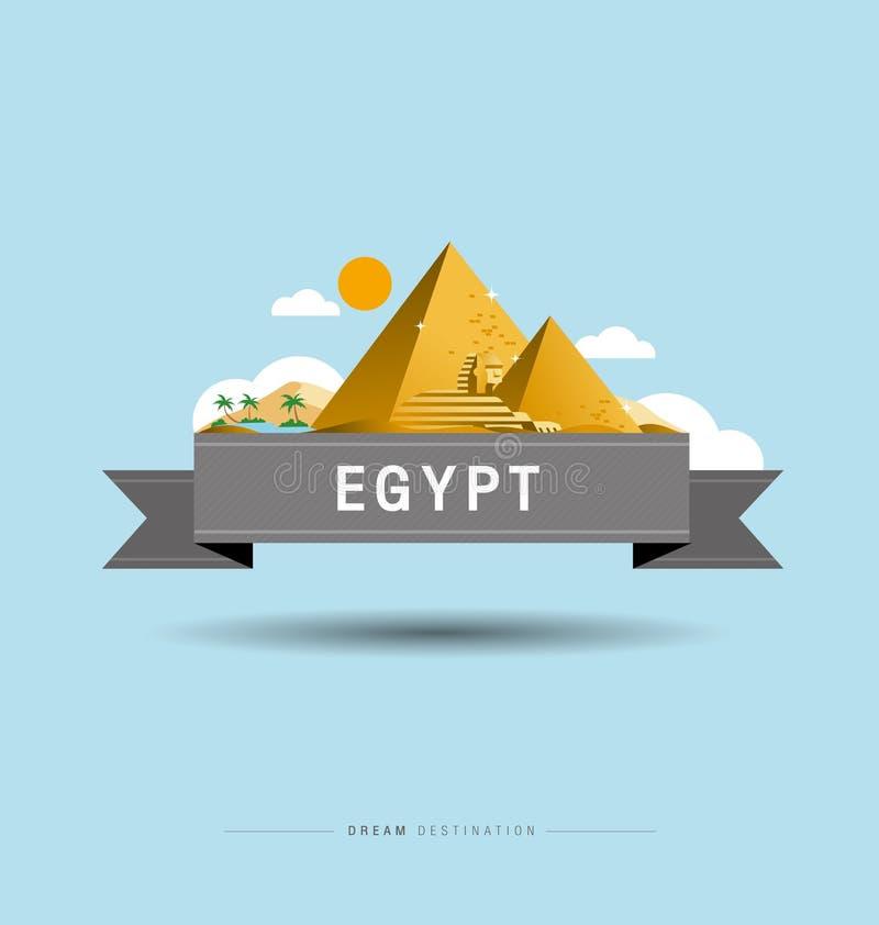 Piramide, Sfinx, Egypte, bestemming, stad scape, typografie stock illustratie