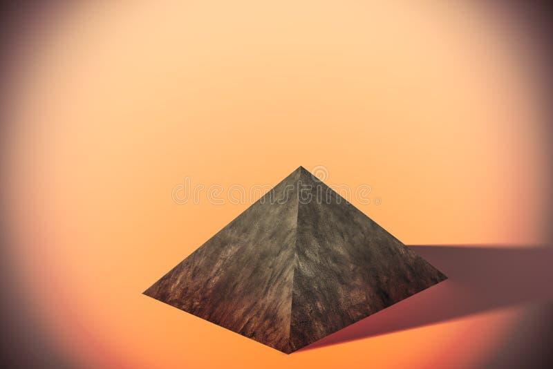 Piramide su fondo arancio illustrazione di stock