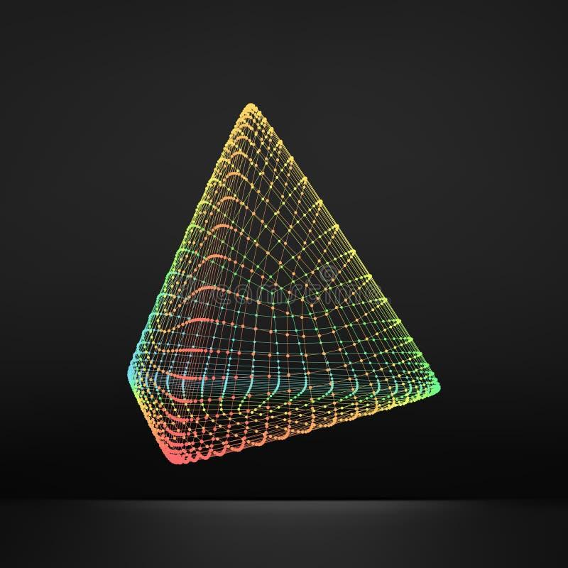 piramide Tetraedro regolare Solido platonico Poliedro regolare e convesso struttura del collegamento 3D Elemento geometrico della royalty illustrazione gratis
