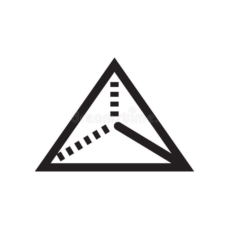 Piramide triangolare dal segno e dal simbolo di vettore dell'icona di vista superiore isolata su fondo bianco, piramide triangola royalty illustrazione gratis