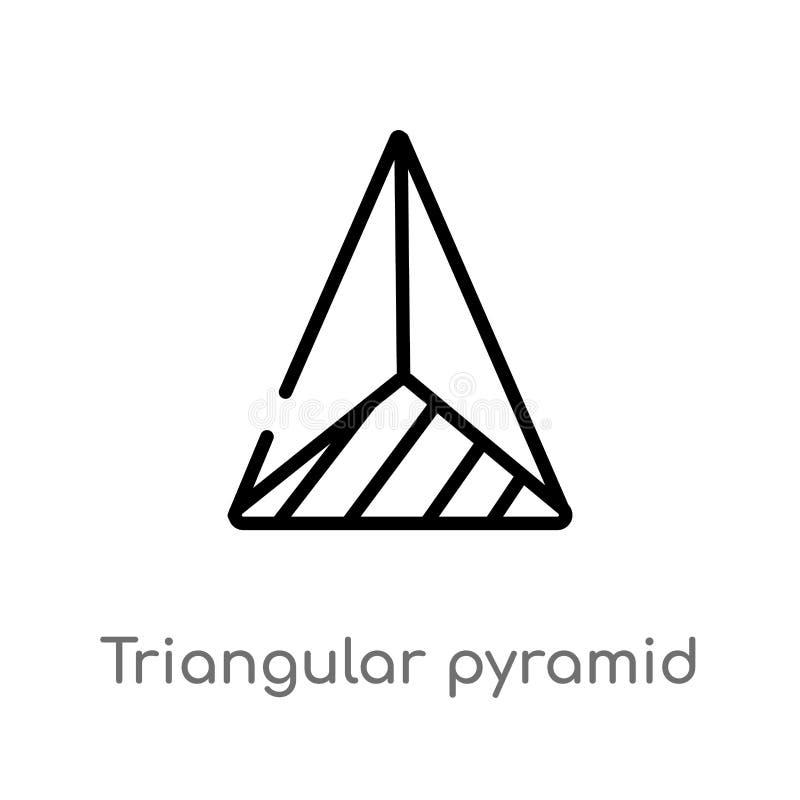 piramide triangolare del profilo dall'icona di vettore di vista superiore linea semplice nera isolata illustrazione dell'elemento royalty illustrazione gratis