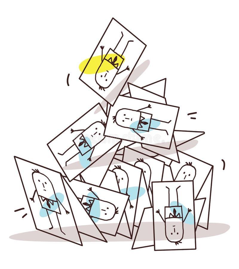 Piramide van beeldverhaal de Instortende Adreskaartjes vector illustratie