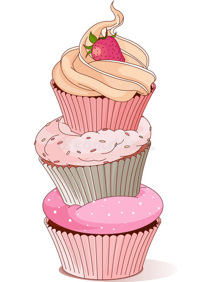 Piramide van cupcakes stock illustratie